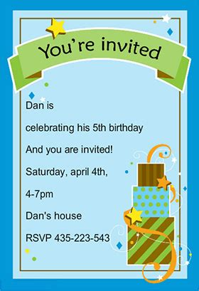 5th Birthday Invitation Card Template by Birthday Invites Boys Birthday Invitations Templates