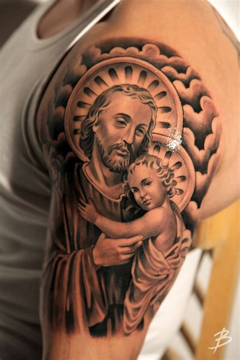 saint tattoo colorful christopher on thigh