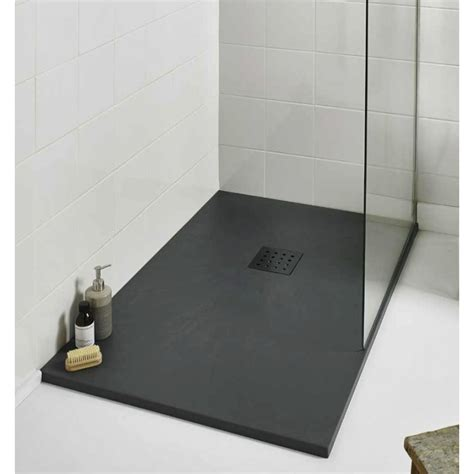 Bathroom Shower Trays Kartell 1700mm X 800mm Rectangle Slate Effect Shower Tray Graphite