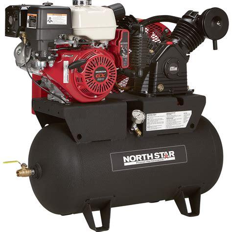 northstar portable gas powered air compressor honda gx390 ohv engine 30 gallon horizontal