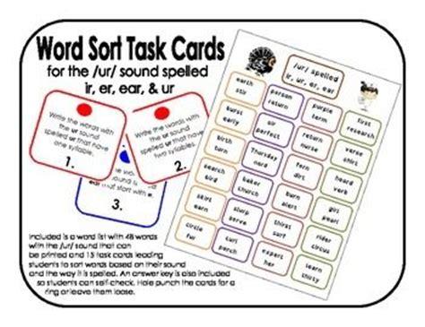 ure pattern words phonics word sort task cards ur sound spelled ir er