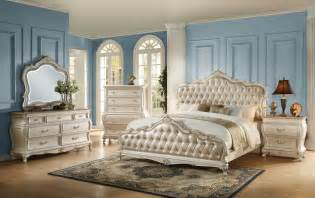 white bedroom set the acme 23540q 4pcs chantelle gold pu pearl white