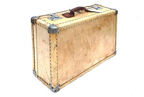small vintage vellum leather parchment suitcase omero home