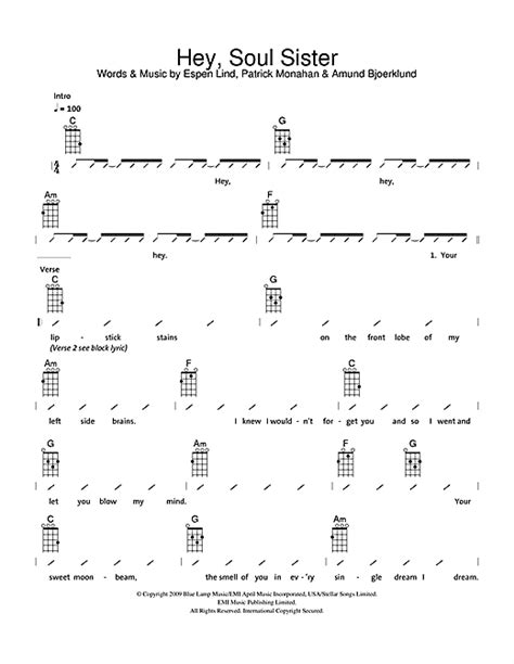 strumming pattern of you re beautiful hey soul sister sheet music by the ukuleles ukulele with