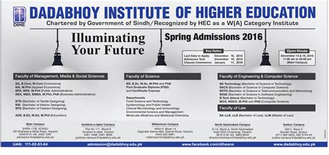 Mba Admission Requirements In Karachi by Ba Bcom Bba Mba Emba Admissions In Dadabhoy Institute