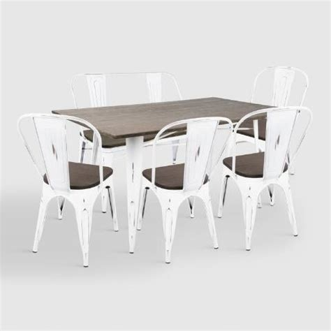 White Metal Dining Table White Metal And Espresso Wood Ridgeby Dining Table World Market