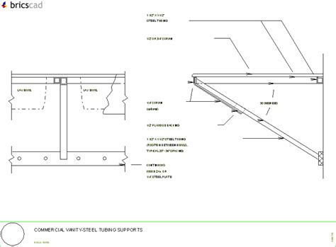 Corian Details Commercial Vanity Steel Tubing Supports Aia Cad Details