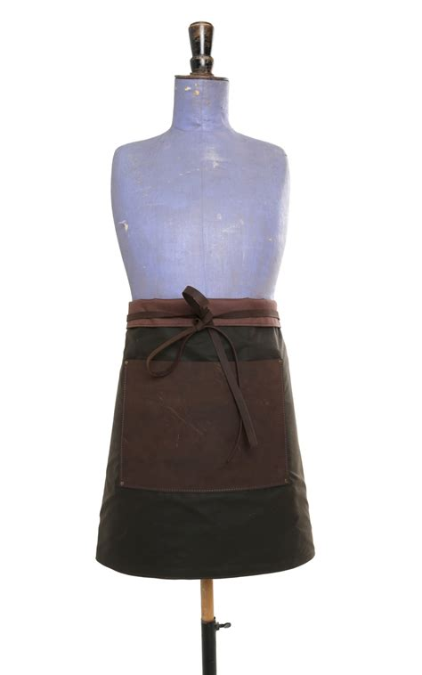 Half Apron leather waxed cotton half apron brown the