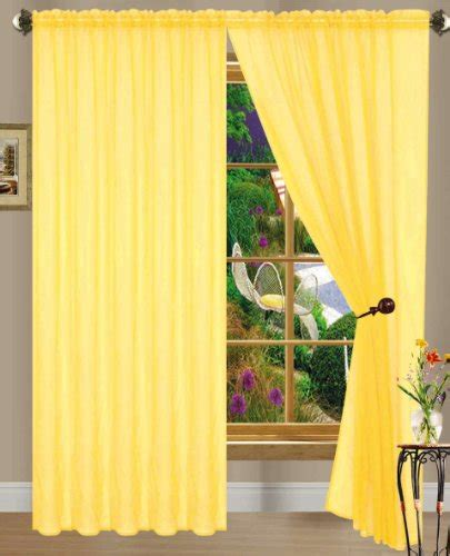 long yellow curtains bright yellow linda sheer voile panel curtain drape 55