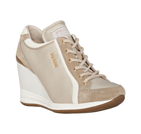 Prada Sneakers Prada Wedges prada sport ivory suede trim wedge sneakers in white lyst