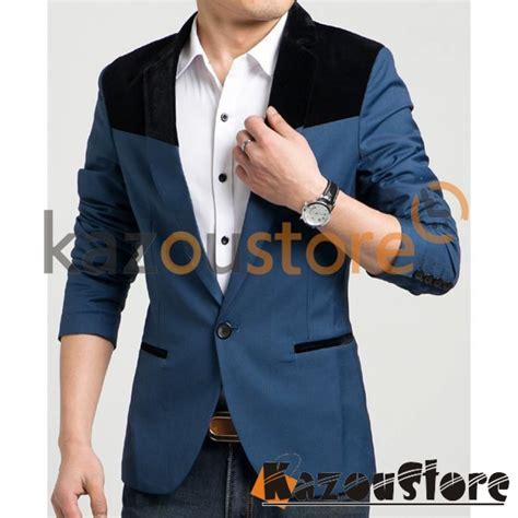 Jaket Jas Blazer Casual Pria Biru detil produk blazer pria casual njs107 kazoustore