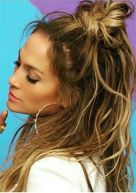 how to do jlo hairstyles half up top knot style such pinterest kitchens