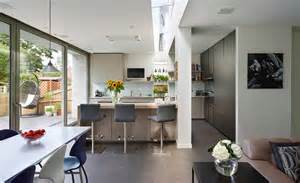 lovely Open Plan Kitchen Dining Lounge Layout #1: kitchen-diner-DesignSpace-London-with-glazed-rooflight-with-sliding-doors-to-garden.jpg