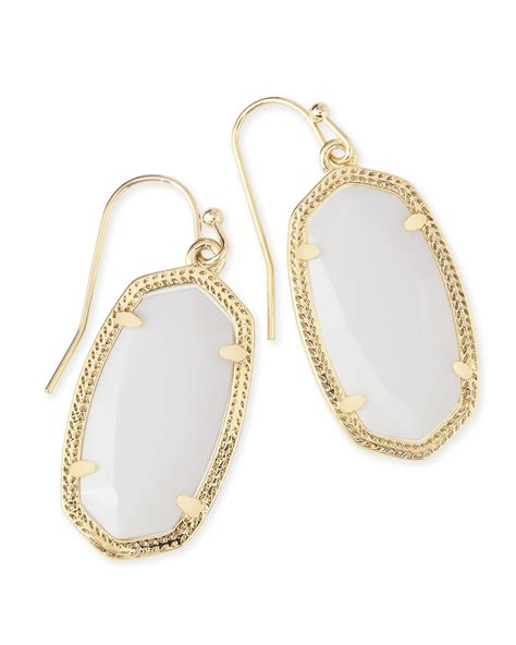 White Earring gold drop earrings in white pearl kendra