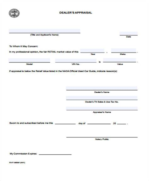 Letter Of Appraisal Mun 40 Simple Appraisal Forms
