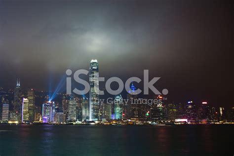 porto di hong kong porto di hong kong famoso laser show fotografie stock