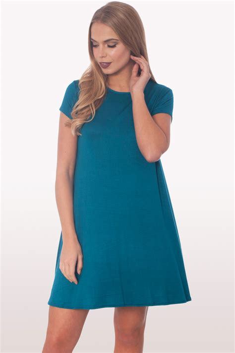 swing dress with sleeves teal short sleeve swing dress dresses modamore