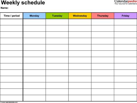 printable 5 day weekly calendar weekly schedule template for word version 1 landscape 1