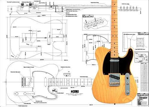 Plan Of Fender Telecaster Electric Guitar Full Scale Print
