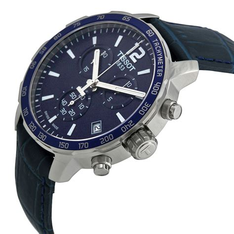 tissot quickster chronograph blue blue leather mens