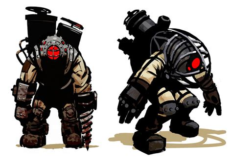 big daddy early concept characters amp art bioshock 2