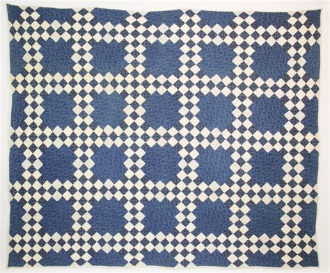 And White Patchwork Quilt - patchwork quilt 19th century blue and white chain