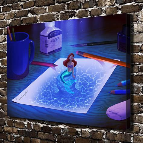 little mermaid home decor home decor little mermaid oil painting hd print on canvas