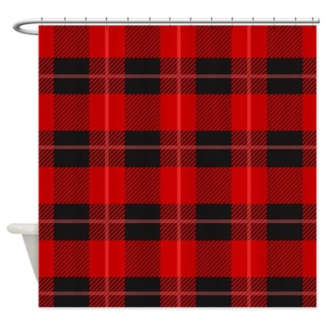 red and black plaid curtains red and black plaid geometric patt shower curtain by admin