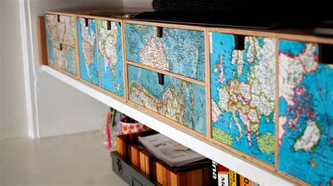 Decoupage Drawer Fronts - decorating with maps the decorologist