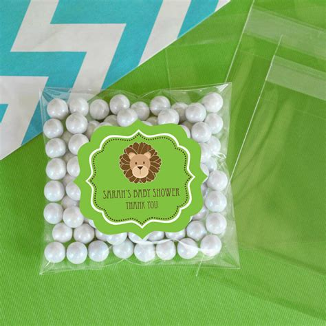 jungle safari personalized clear candy bags baby shower