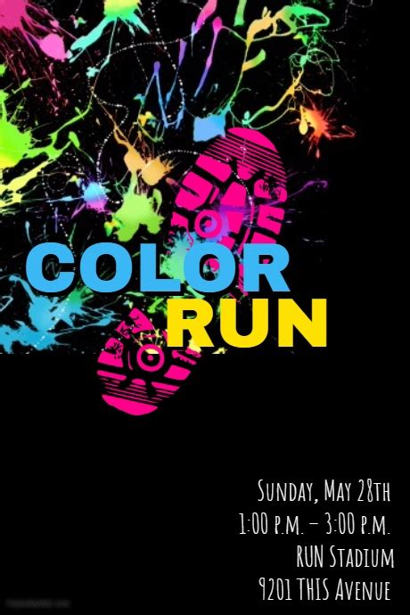 Color Run Template Postermywall Color Run Flyer Template