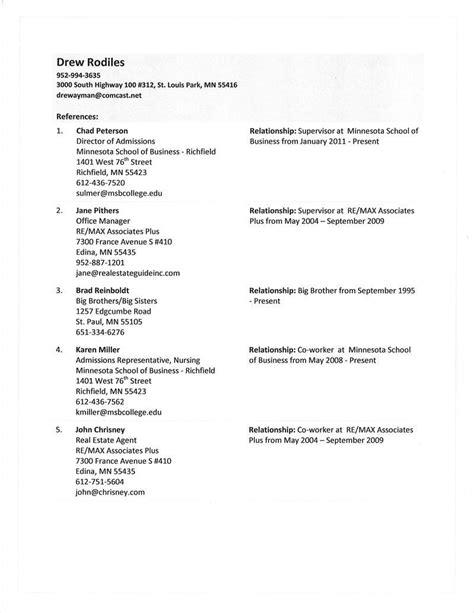 References Layout For Resume