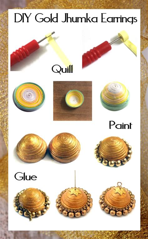 How To Make Paper Jhumkas At Home - jewelry around the world day 1 indian jhumka diy earrings