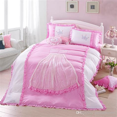 girl queen size bedding embroidered and ruffle pink white princess crown lace