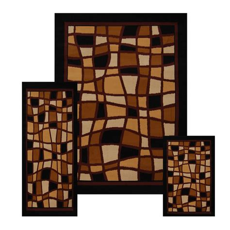 3 Pc Set Modern Contemporary Geometric Area Rug Runner Modern Accent Rugs