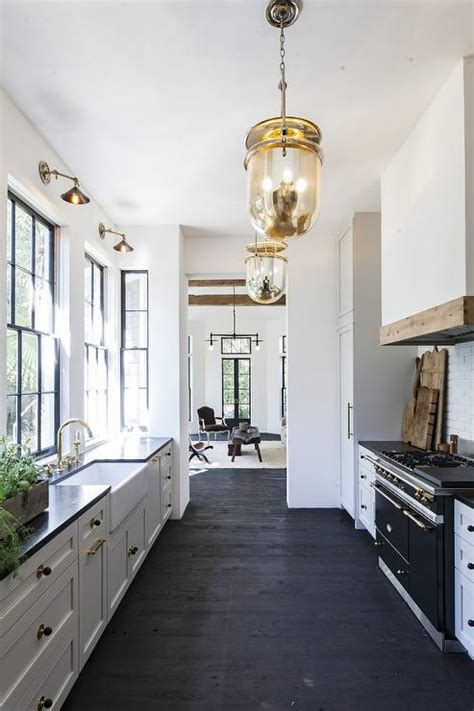black galley kitchen black and white galley style kitchen with mercury glass