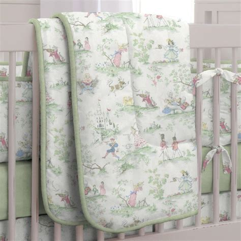 toile coverlet nursery rhyme toile sage crib comforter carousel designs