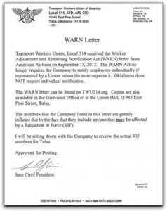 warn letter transport workers union local 514