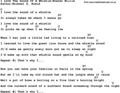 printable lyrics sound of music country music i love the sound of a whistle boxcar willie