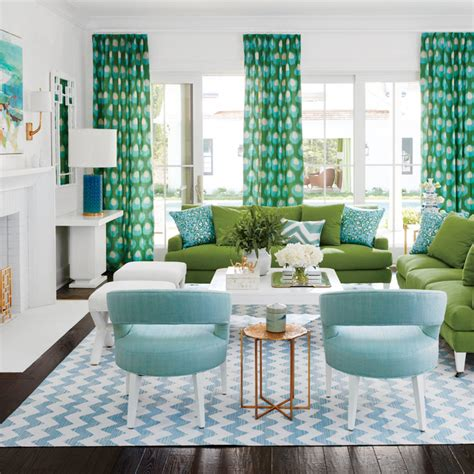 green and turquoise living room 2016 coastal living magazine htons showhouse house of turquoise