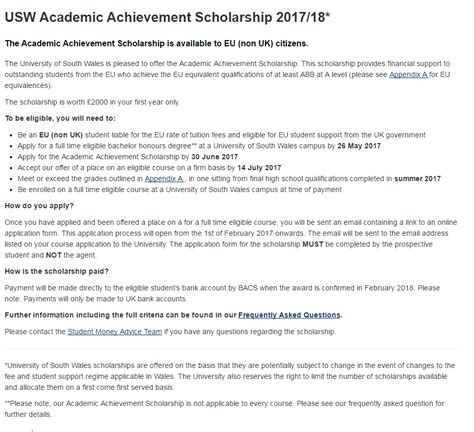 Of South Wales Mba Scholarship by Of South Wales Academic Scholarship For