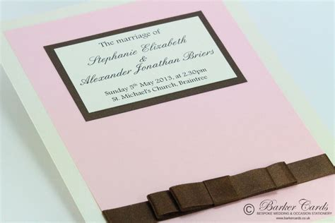 light pink and brown wedding invitations wedding orders of service graceful collection blush pink