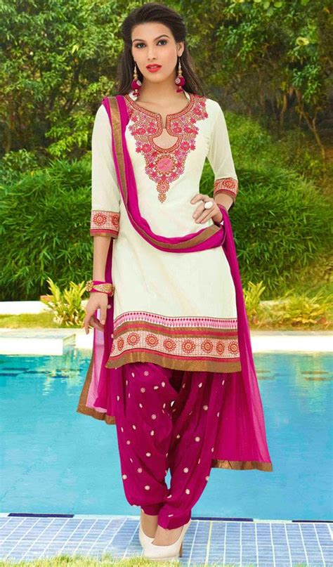 punjabi grls suit long hair usd 32 90 white cotton punjabi suit 48420 punjabi salwar