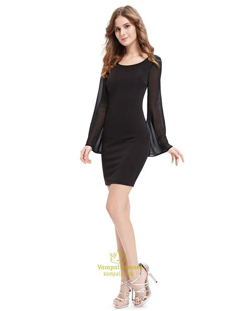 black sheath cocktail dresses with bell sleeve