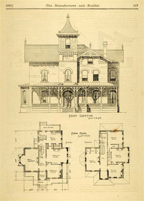 Victorian House Blueprints | 1873 print house home architectural design floor plans victorian architecture print design