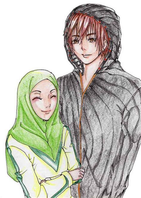 wallpaper hitam putih romantis gambar 31 kartun pasangan muslim muslimah anak cemerlang