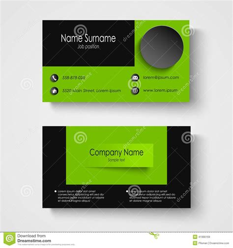Green Card Template by Modern Sle Green Business Card Template Stock Vector