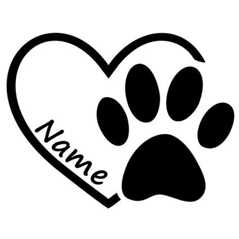 Herz Aufkleber Mit Namen by Aufkleber Herz Mit Pfote Und Name Mipa S Petshop