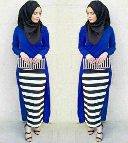 Setelan Pashmina Baju Wanita Muslim Monika Stripe Set 3in1 4 jual beli monika stripe set 3in1 benhur