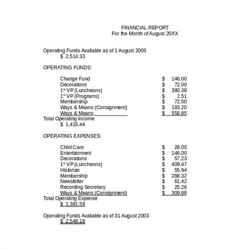Financial Report Format Sle Financial Report Template 10 Free Documents